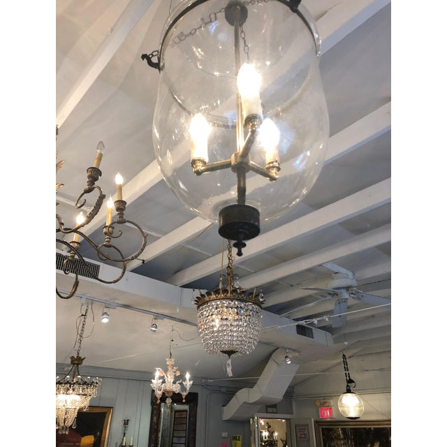 Traditional Mid 19th Century Antique Traditional Hurricane Style Foyer Lantern Chandelier For Sale - Image 3 of 8