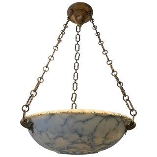 Carved Alabaster Bowl Chandelier
