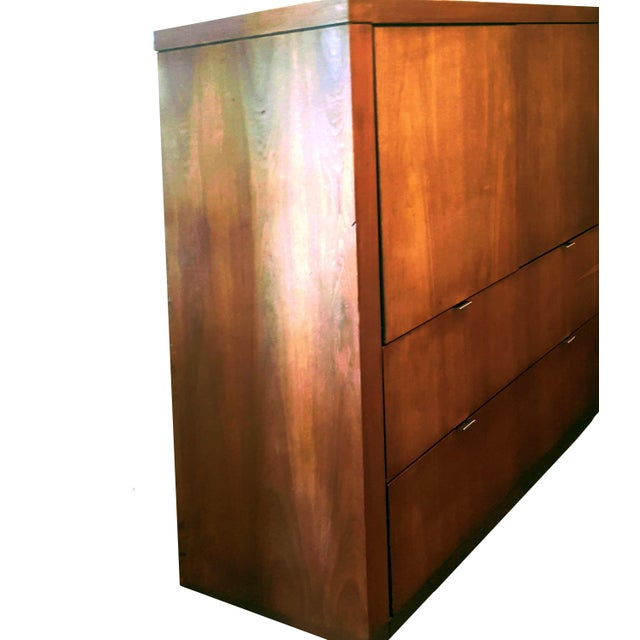 Dillingham 1970s Danish Modern Dillingham Walnut Conjoined Twin Enclosed Storage Cabinets - a Pair For Sale - Image 4 of 13