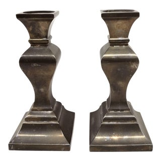 Vintage Brass-Silver Candle Holders - A Pair For Sale