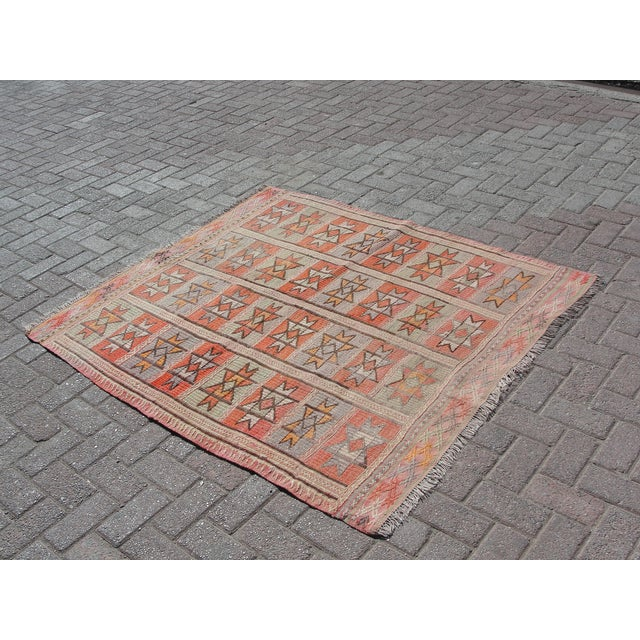 "Islamic Vintage Turkish Kilim Rug - 4'9"" x 5'1"" For Sale - Image 3 of 11"