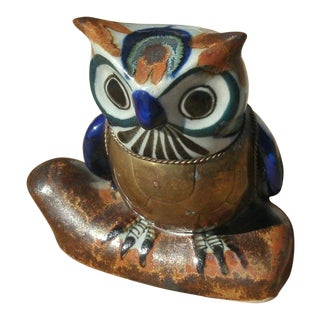Late 20th Century Vintage Pottery & Brass Bustamonte Style Owl For Sale