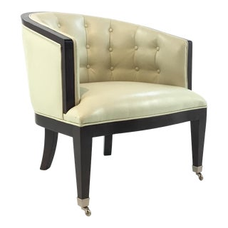Modern Faux Cream Leather Barrel Back Chair For Sale