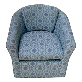 Younger Furniture Mod Aqua & Purple Compact Swivel Club Accent Chair For Sale