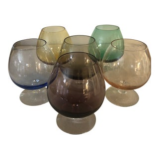 Mid Century Jewel Colored Crystal Brandy Snifters - Set of 6 For Sale