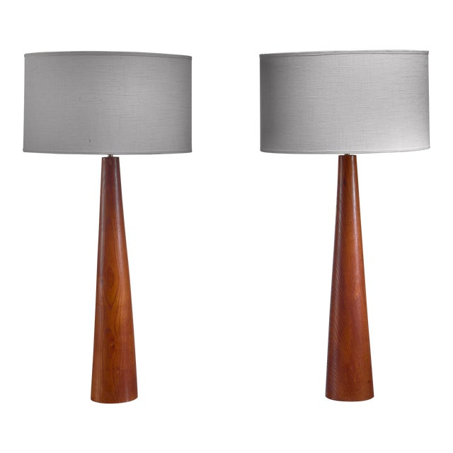 Pair of Conical Wooden Table Lamps, Sweden, 1960s For Sale