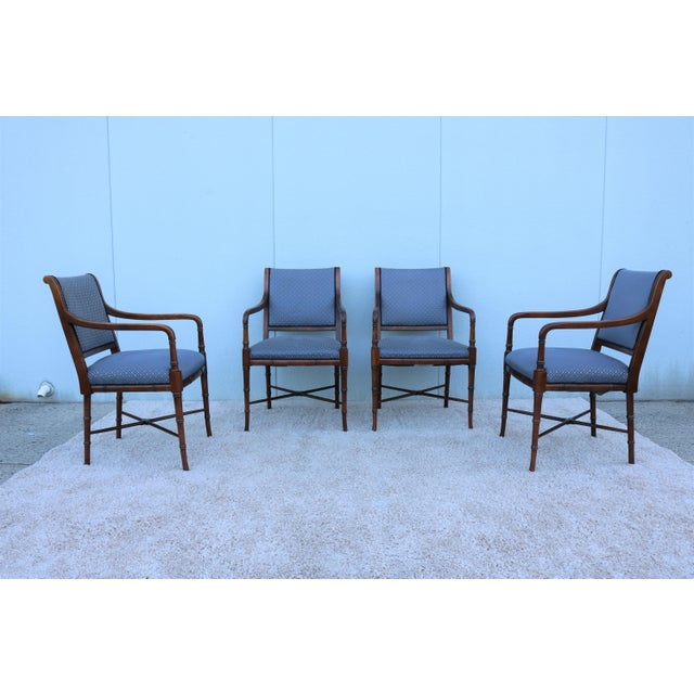 American Classical 18th C. Southwood Furniture Vintage Mahogany Armchairs - Set of 4 For Sale - Image 3 of 13