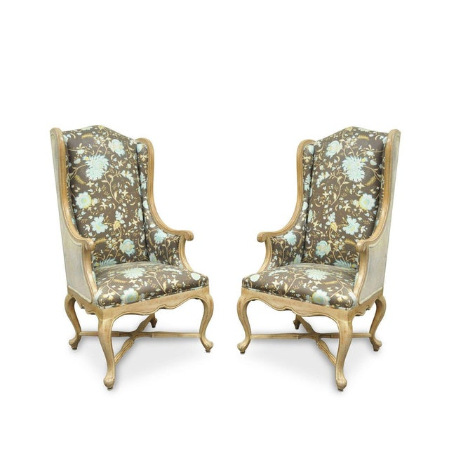 Pair of Hollywood Regency French Country Carved Wing Back Fireside Lounge Chairs - Image 11 of 11