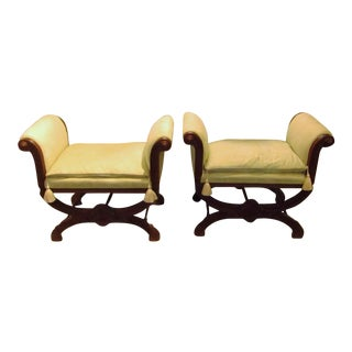 Carved Wood Benches With Pale Green Damask Tasseled Cushions - A Pair