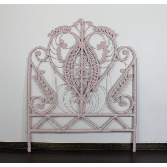 Pink Victorian Curlicue Wicker Twin Bedroom Set - 3 Pc. Set For Sale - Image 4 of 6