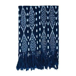 """Guatemalan Indigo & White Ikat Blanket - 48"""" x 80"""""""