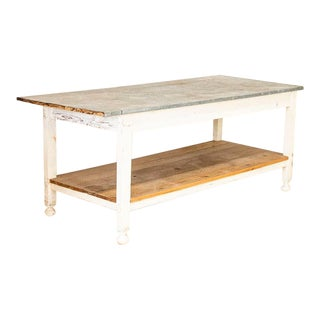 Early 20th Century Antique White Painted Work Farm Table with Zinc For Sale