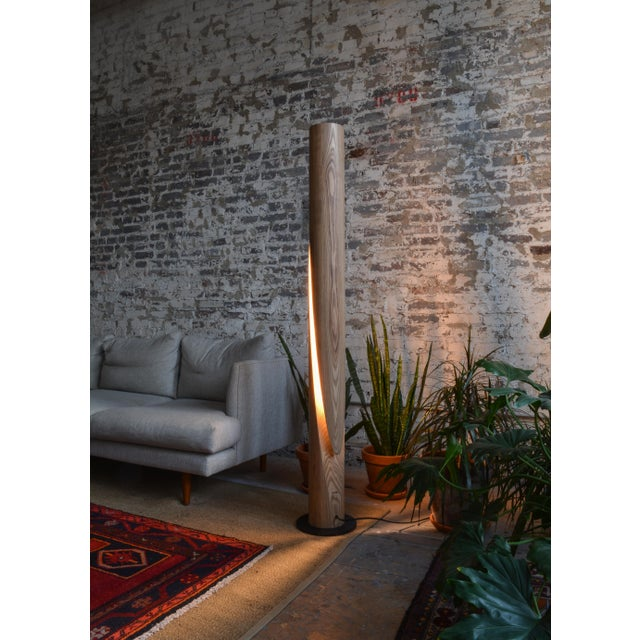 OVUUD Shear - Minimalist Wooden Column Led Lamp For Sale - Image 4 of 7