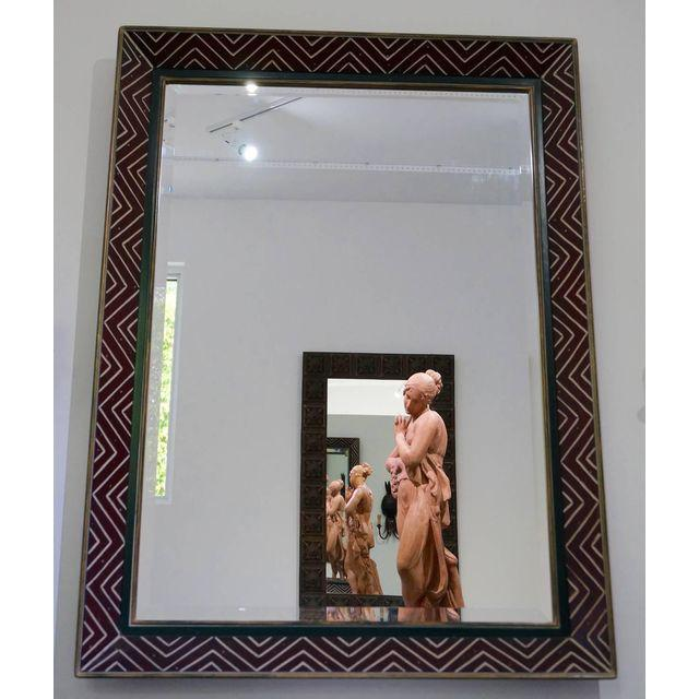 Art Deco Egyptian Revival Style Incised Chevron Pattern Frame Wall Mirror - Image 5 of 6