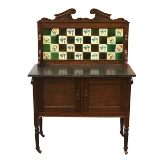 Antique English Tile Back Stone Top Wash Stand Circa1900 For Sale