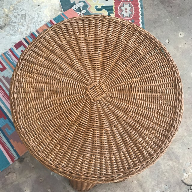 Mid Century Wicker Trompe L'oeil Draped Ghost Table - Image 2 of 8