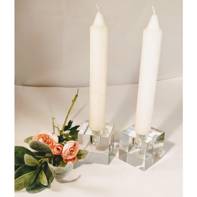 Vintage Tiffany & Co Crystal Candle Holders - a Pair For Sale - Image 9 of 12