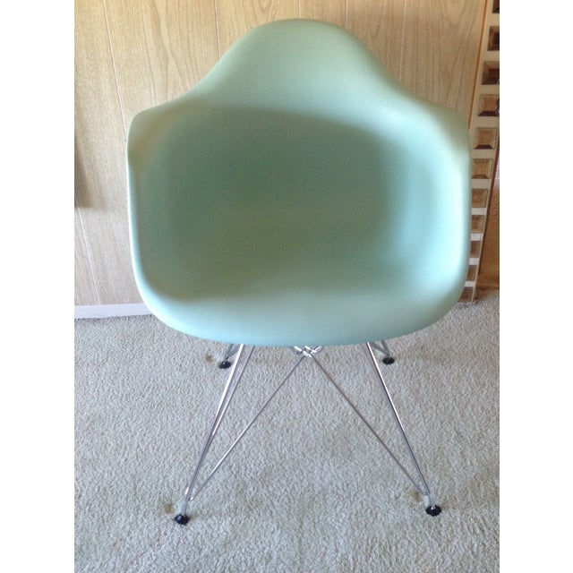 Beautiful Eames molded plastic Eiffel chair on chrome base. In excellent condition & never used. Designed by Eames for...