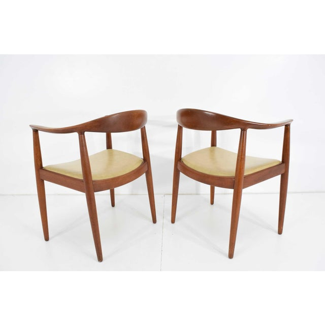 Johannes Andersen Pair of Hans Wegner Round Chairs For Sale - Image 4 of 8