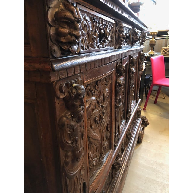 Wood 19th Century Renaissance Revival Hand Carved Cabinet For Sale - Image 7 of 13