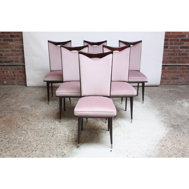 Set of Six Mid-Century Italian Dining Chairs With Nickel Sabots For Sale - Image 13 of 13