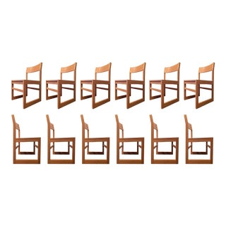 Organic Modernist Oak Chairs, Set of 12 For Sale