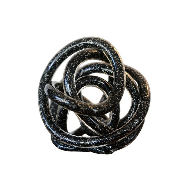 Abstract Vintage Black Murano Abstract Twisting Blown Glass Tube Sculpture For Sale - Image 3 of 10