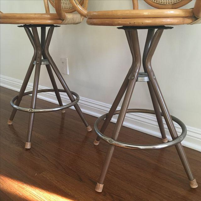 Vintage Wicker Bar Stools - A Pair - Image 3 of 7