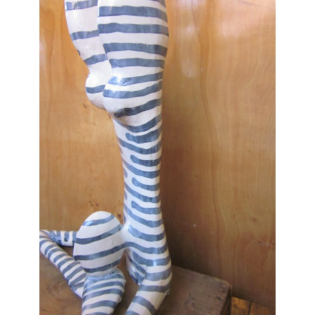"Ceramic Original Studio Art Postmodern Ceramic ""Acrobat"" Blue Striped Biomorphic Form Figural Sculpture by Jack Charney For Sale - Image 7 of 13"