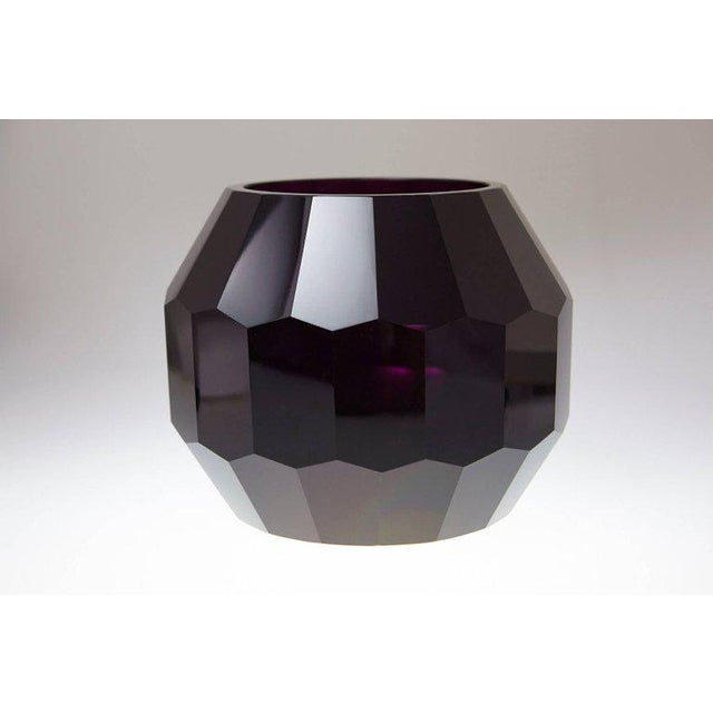 Dark Violet Hand Cut Crystal Vase Attributed to Josef Hoffmann for Moser & Söhne For Sale - Image 9 of 9