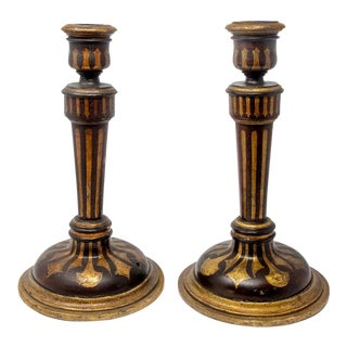 Italian Painted Wood Candlesticks - Pair For Sale