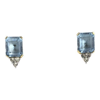 Costume Aquamarine & Crystal Gold Plated Clip Earrings For Sale