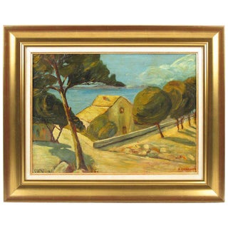 Auguste Chabaud French Mediterranean Seascape Oil on Wood-Board Painting For Sale