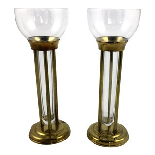 1960s Mid-Century Modern Glass and Brass Vases or Candle Holders - a Pair For Sale