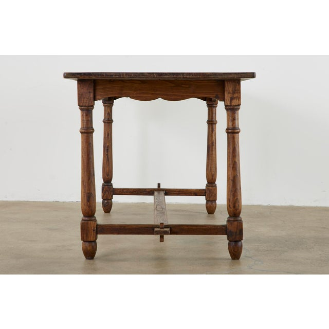 Wood Country English Provincial Oak Farmhouse Trestle Dining Table For Sale - Image 7 of 13