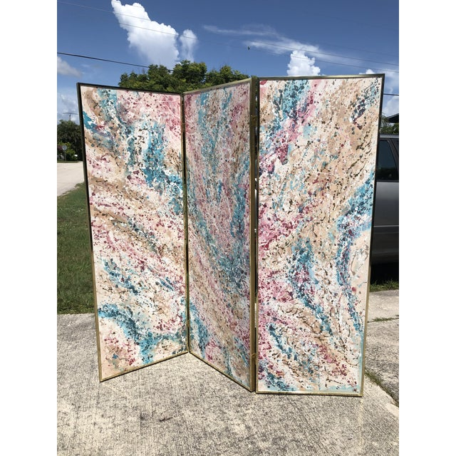"""Fabulous 3 panel screen in an abstract splatter painting. Each panel measures 24.75""""."""