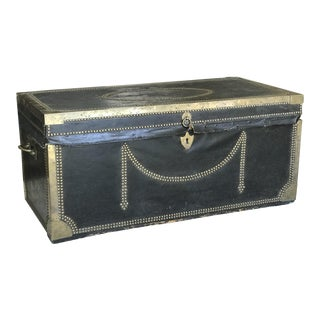 19th Century Leather & Brass Campaign Chest For Sale