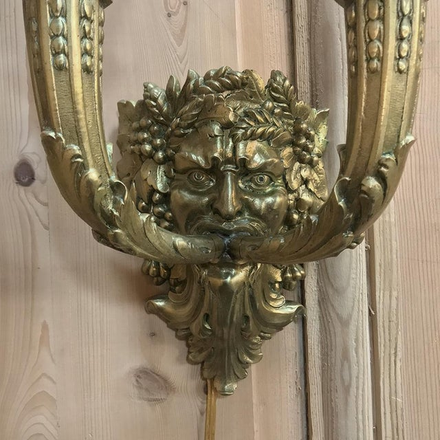 Early 20th Century Pair Antique Bronze Bacchus Electrified Wall Sconces For Sale - Image 5 of 13