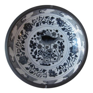Blue & White Chinoiserie Shallow Bowl With Fish and Flowers For Sale