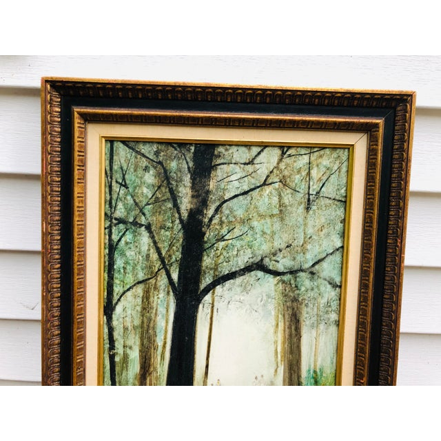 Vintage Mid Century Era Tall Trees Forest Hand Painted Signed Framed Art For Sale - Image 4 of 13