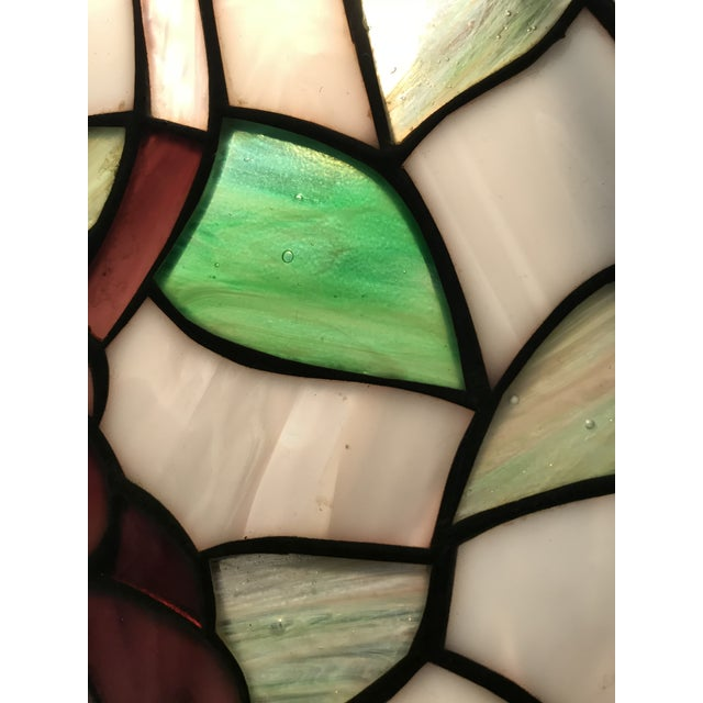 White Vintage Tiffany Style Stained Glass Table Lamp For Sale - Image 8 of 10