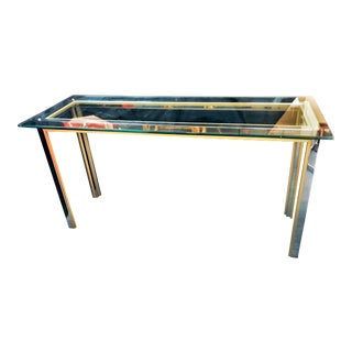 Mid Century Modern Brushed Brass and Chrome Console Table For Sale