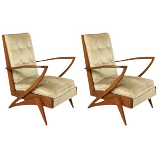 Pair of French Mid-Century Modern Wood and Upholstered Armchairs, Circa 1950 For Sale