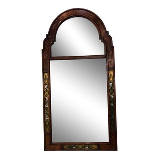Chinoiserie Design Arch Top Mirror With Green Eglomise Glass Sides For Sale