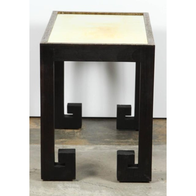 2010s Distressed Greek Key Tables With Brass Metal Inset - Pair For Sale - Image 5 of 9