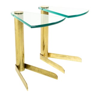 Mid Century Modern Pace Brass & Glass Occasional Side Tables - a Pair For Sale
