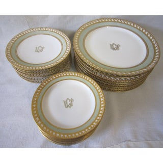 1920's Gold and Green Vintage French China Service - 28 Pieces Preview