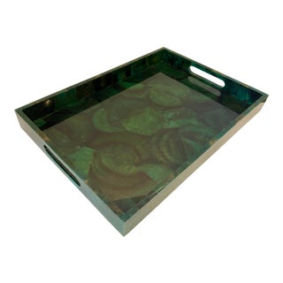 Large Santorini Emerald Green Pen Shell Tray For Sale