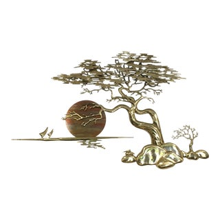 Bijan Brass & Copper Bonzai Tree & Sunset Sculpture