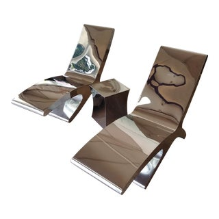 Stainless Steel Modern Chaise Lounge Chairs & Table - Set of 3 For Sale